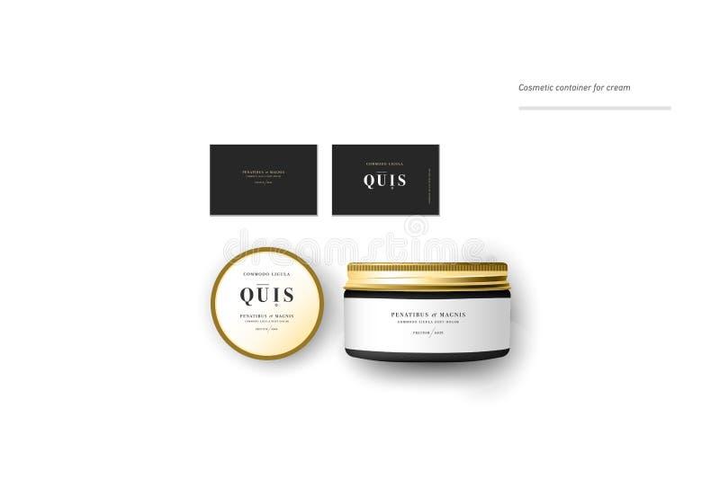Récipient cosmétique vide réaliste pour la crème, la poudre ou le gel calibre de paquet illustration stock