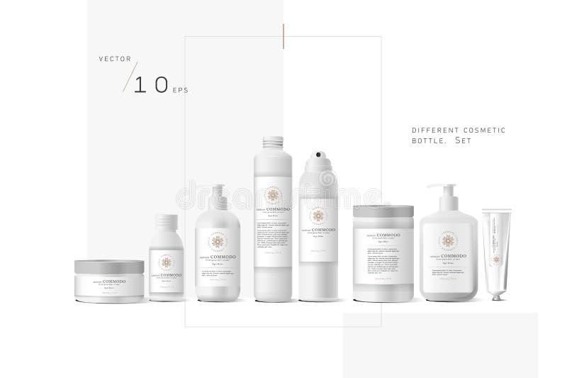 Récipient crème cosmétique blanc réaliste illustration de vecteur