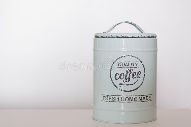 Récipient d'entreposage bleu de café de vintage image stock