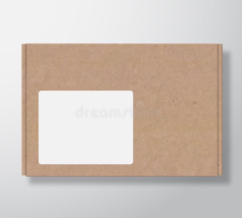 Récipient de boîte en carton de métier avec le calibre clair de label de place blanche Moquerie réaliste d'emballage de texture d illustration libre de droits