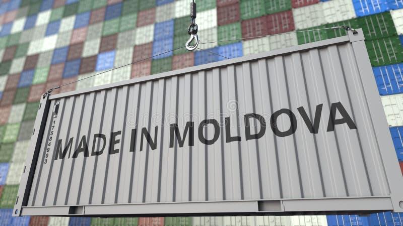 Récipient de cargaison avec FAIT DANS la légende de MOLDAU Rendu 3D relatif moldove d'importation ou d'exportation illustration libre de droits