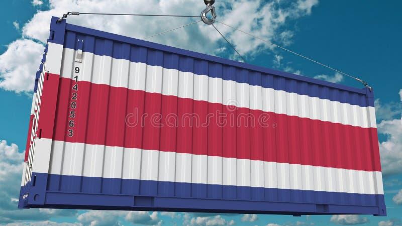 Récipient de cargaison avec le drapeau de Costa Rica Rendu 3D conceptuel relatif d'importation ou d'exportation illustration libre de droits