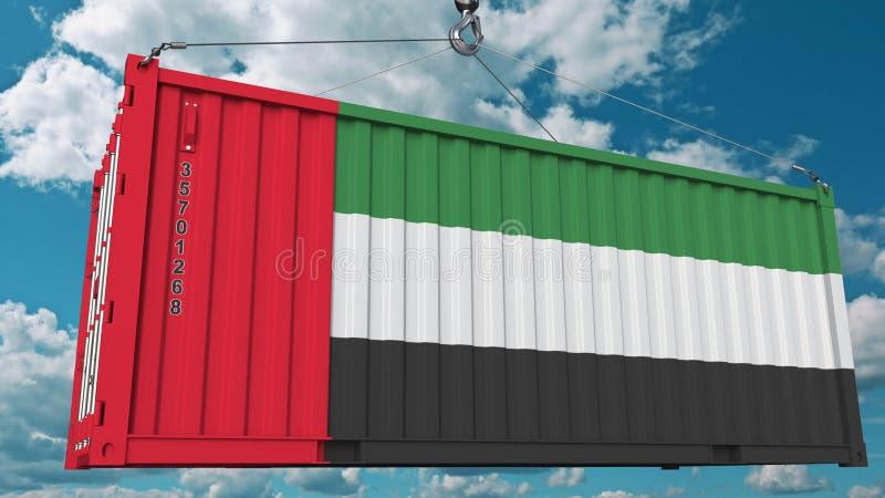 Récipient de cargaison avec le drapeau des Emirats Arabes Unis Les EAU importent ou exportent le rendu 3D conceptuel relatif illustration libre de droits