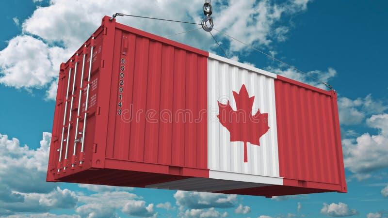 Récipient de cargaison avec le drapeau du Canada L'importation ou l'exportation canadienne a rapporté le rendu 3D conceptuel illustration stock