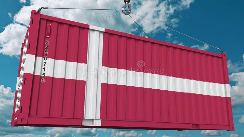 Récipient de cargaison avec le drapeau du Danemark L'importation ou l'exportation danoise a rapporté le rendu 3D conceptuel illustration libre de droits