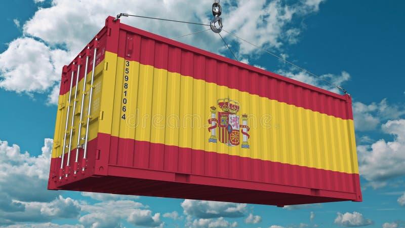 Récipient de cargaison avec le drapeau de l'Espagne Les Espagnols importent ou exportent le rendu 3D conceptuel relatif illustration stock
