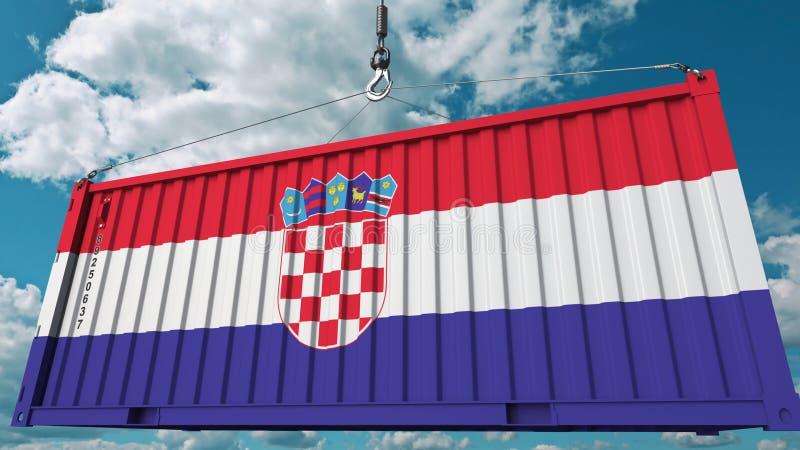 Récipient de cargaison avec le drapeau de la Croatie L'importation ou l'exportation croate a rapporté le rendu 3D conceptuel illustration libre de droits