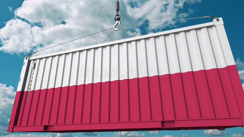 Récipient de cargaison avec le drapeau de la Pologne L'importation ou l'exportation polonaise a rapporté le rendu 3D conceptuel illustration libre de droits