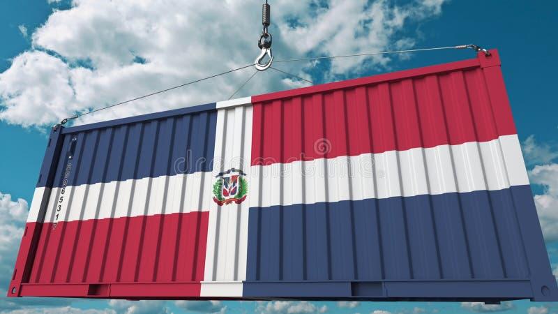 Récipient de cargaison avec le drapeau de la République Dominicaine  Rendu 3D conceptuel relatif d'importation ou d'exportation illustration libre de droits