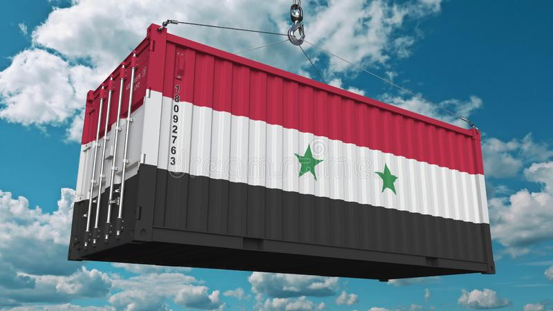 Récipient de cargaison avec le drapeau de la Syrie L'importation ou l'exportation syrienne a rapporté le rendu 3D conceptuel illustration de vecteur