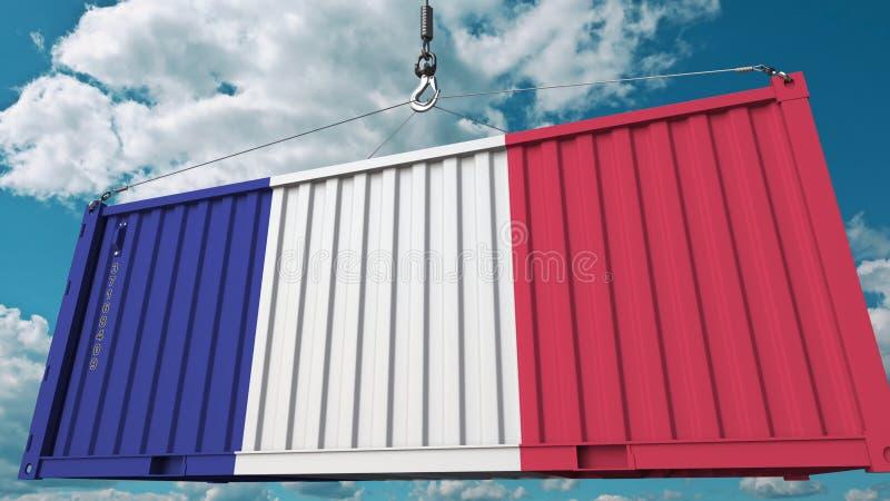 Récipient de cargaison de chargement avec le drapeau des Frances Les Français importent ou exportent le rendu 3D conceptuel relat illustration stock