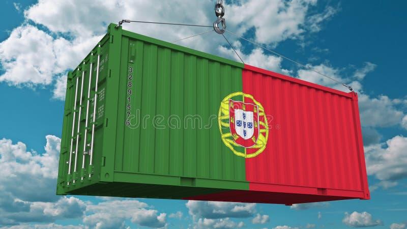 Récipient de cargaison de chargement avec le drapeau du Portugal Les Portugais importent ou exportent le rendu 3D conceptuel rela illustration de vecteur
