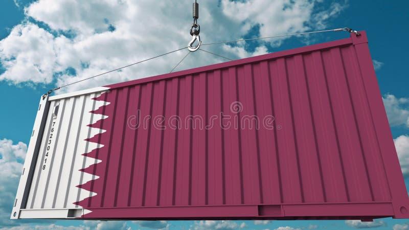Récipient de cargaison de chargement avec le drapeau du Qatar L'importation qatarie ou l'exportation a rapporté le rendu 3D conce illustration libre de droits