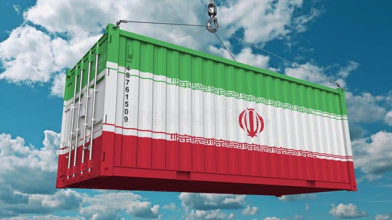 Récipient de cargaison de chargement avec le drapeau de l'Iran L'importation ou l'exportation iranienne a rapporté le rendu 3D co illustration de vecteur