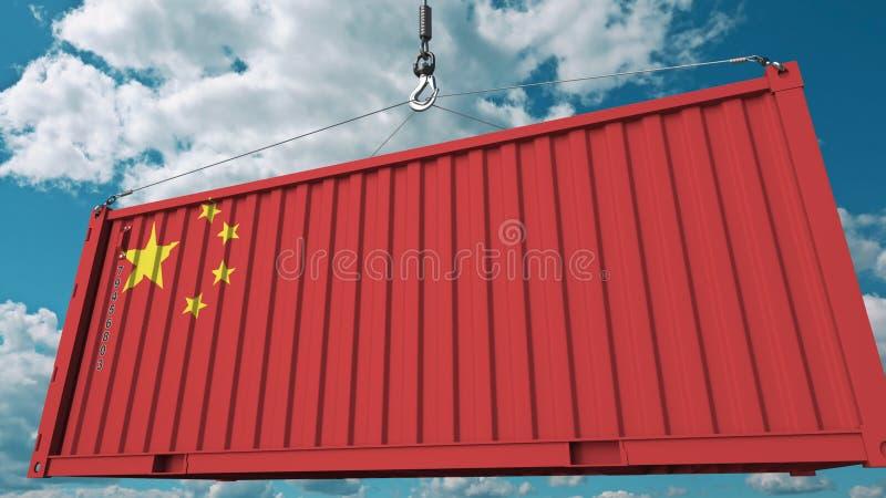 Récipient de cargaison de chargement avec le drapeau de la Chine Les Chinois importent ou exportent le rendu 3D conceptuel relati illustration stock