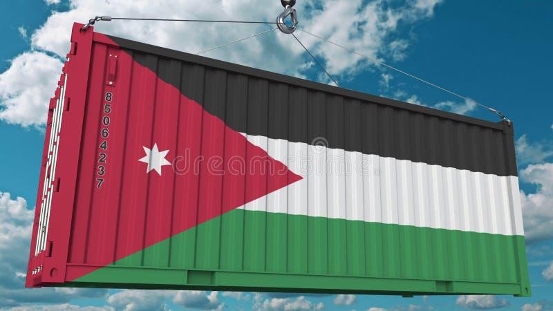 Récipient de cargaison de chargement avec le drapeau de la Jordanie L'importation ou l'exportation jordanienne a rapporté le rend illustration stock