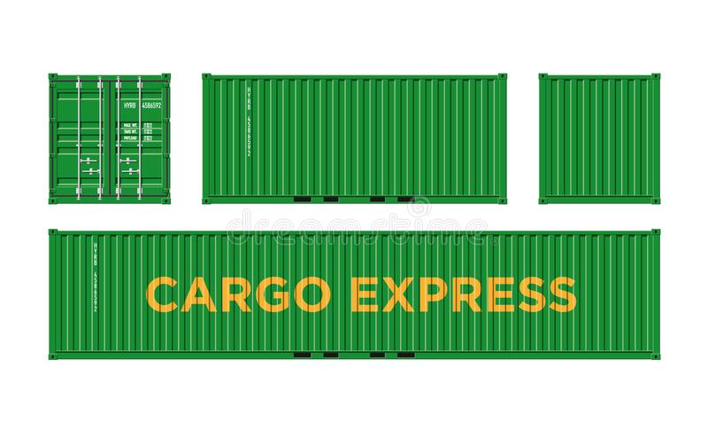 Récipient de cargaison vert d'expédition pour la logistique et transport d'isolement sur l'illustration blanche de vecteur de fon illustration de vecteur