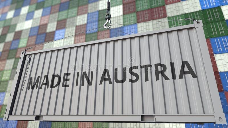 Récipient de chargement avec fait dans la légende de l'Autriche Rendu 3D relatif vénézuélien d'importation ou d'exportation illustration libre de droits
