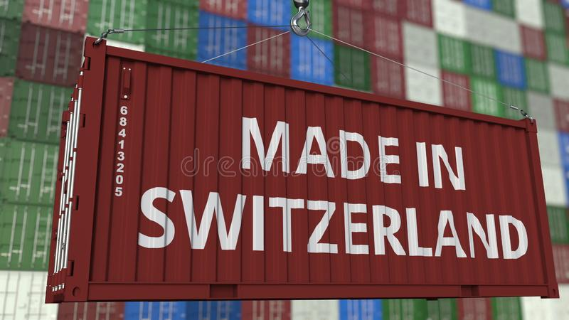 Récipient de chargement avec FAIT DANS la légende de la SUISSE Les Suisses importent ou exportent le rendu 3D relatif illustration libre de droits