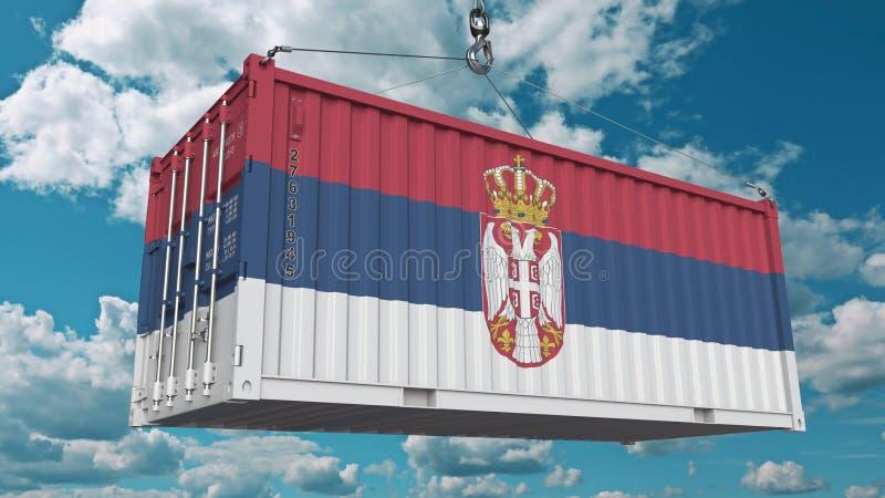 Récipient de chargement avec le drapeau de la Serbie L'importation serbe ou l'exportation a rapporté le rendu 3D conceptuel illustration stock