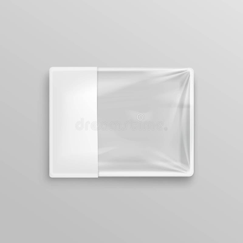 Récipient de nourriture en plastique jetable vide transparent blanc pour le design d'emballage illustration stock