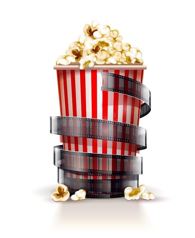 Récipient de papier complètement de maïs éclaté avec le concept de cinéma de bande de film illustration stock