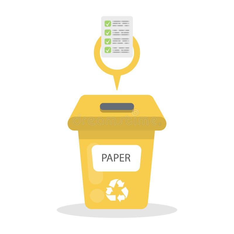 Récipient de papier de déchets illustration de vecteur