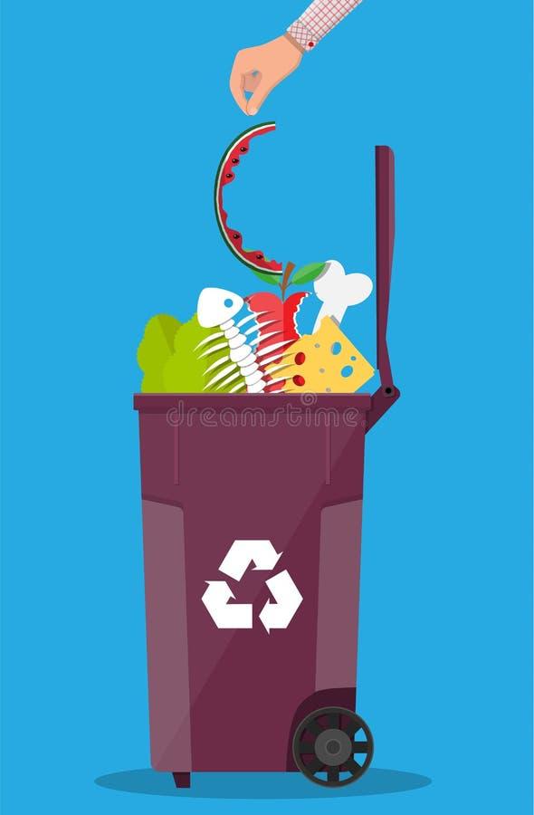 Récipient de poubelle de déchets complètement de nourriture industrielle illustration stock