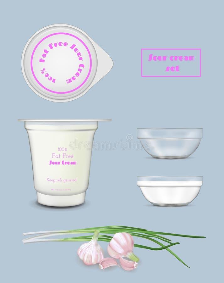Récipient en plastique blanc de nourriture pour le yaourt et la crème sure Calibre transparent de maquette illustration libre de droits