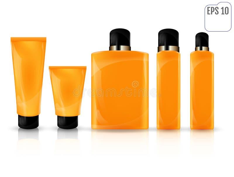 Récipient en plastique cosmétique de produit de soin quotidien réaliste de beauté s illustration de vecteur