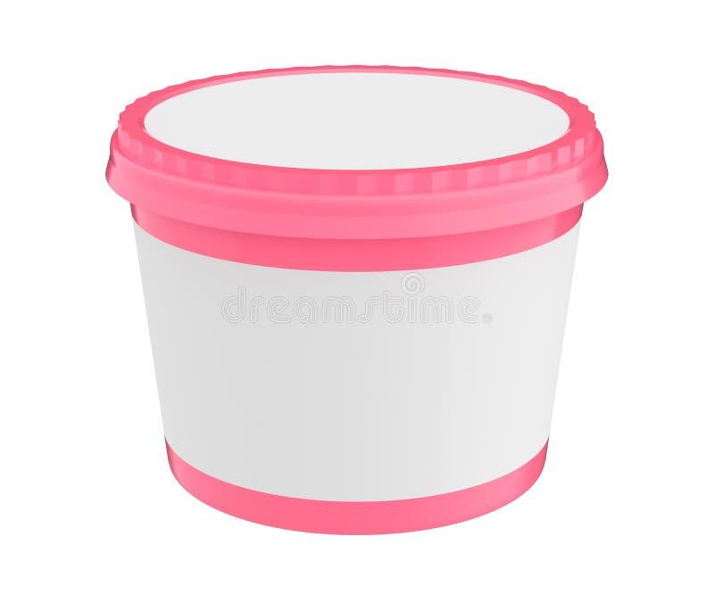 Récipient en plastique de baquet de nourriture blanche pour le dessert, le yaourt, la crème glacée, le Sream aigre ou le casse-cr illustration de vecteur