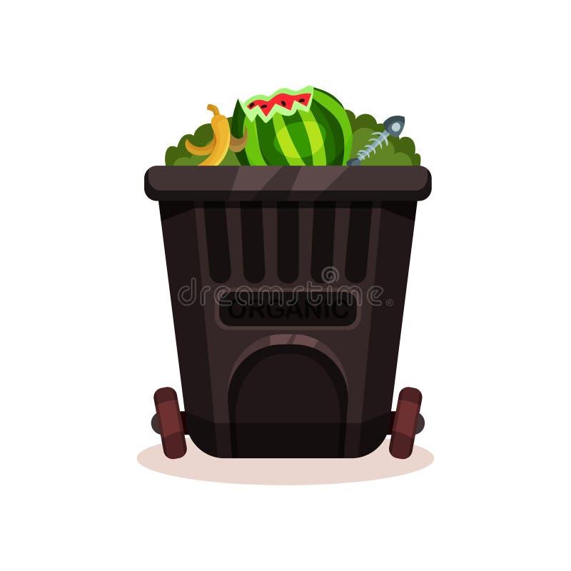 Récipient en plastique noir pour les déchets organiques Peau des os de banane, de pastèque et de poissons Icône plate de vecteur  illustration de vecteur