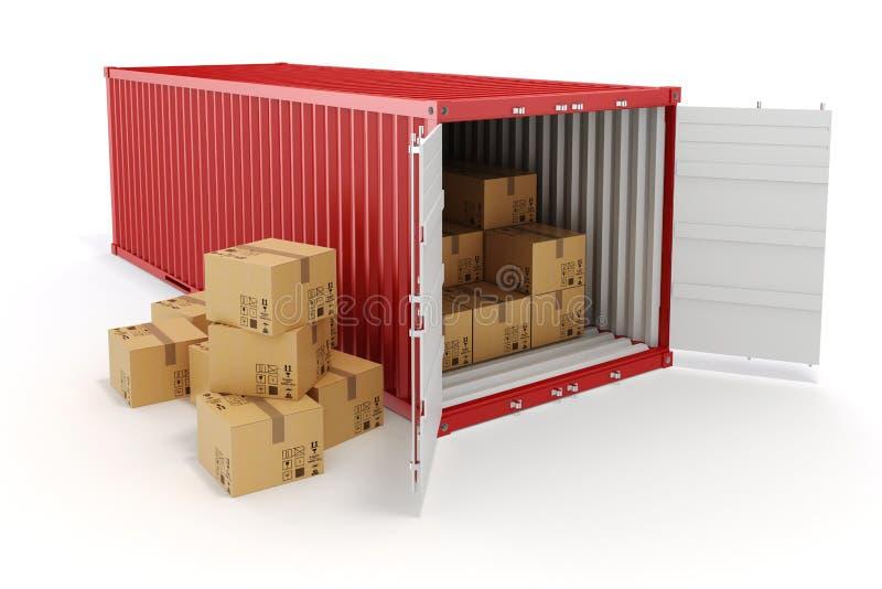 récipient et boîtes de cargaison 3d illustration de vecteur