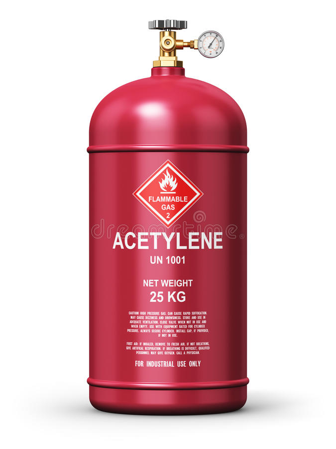 Récipient industriel liquéfié de gaz d'acétylène illustration stock