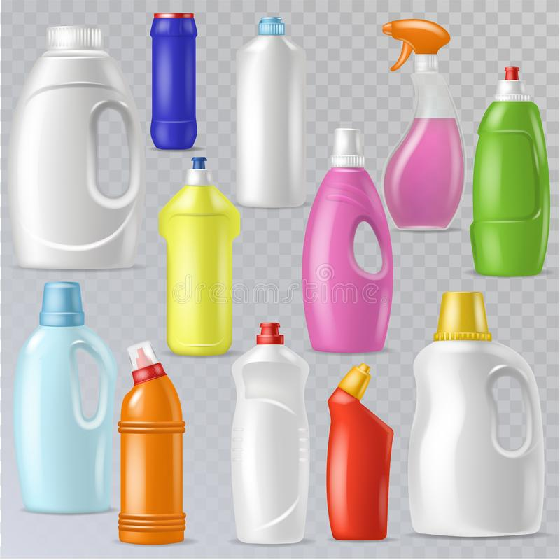 Récipient vide en plastique de vecteur détersif de bouteille avec le liquide de détergence et produit de décapant de ménage de ma illustration stock