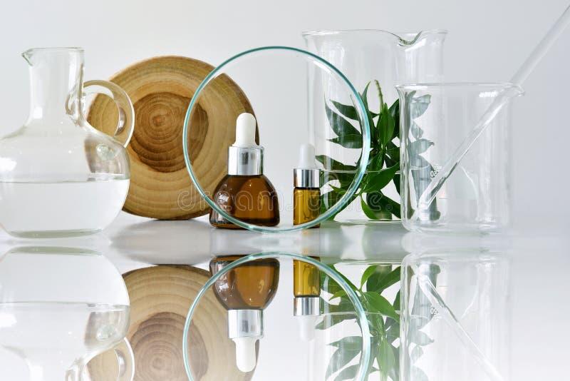 Récipients cosmétiques de bouteille avec les feuilles de fines herbes vertes et la verrerie scientifique, foyer sur le paquet vid photographie stock libre de droits