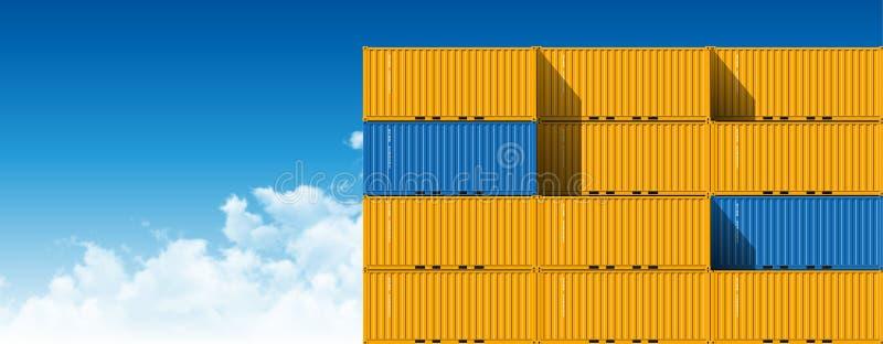 Récipients de cargaison d'expédition pour la logistique et le transport illustration stock