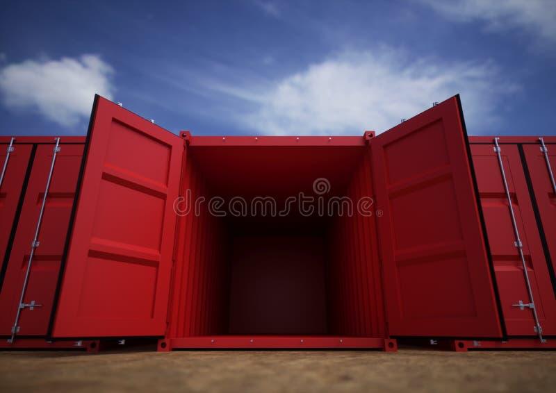 Récipients de cargaison ouverts de rouge photographie stock