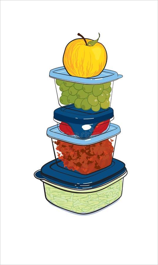 Récipients en plastique avec la nourriture, illustration de vecteur illustration libre de droits
