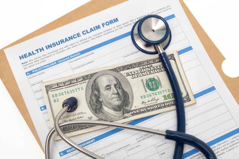 Réclamation et argent liquide d'assurance médicale maladie photos stock