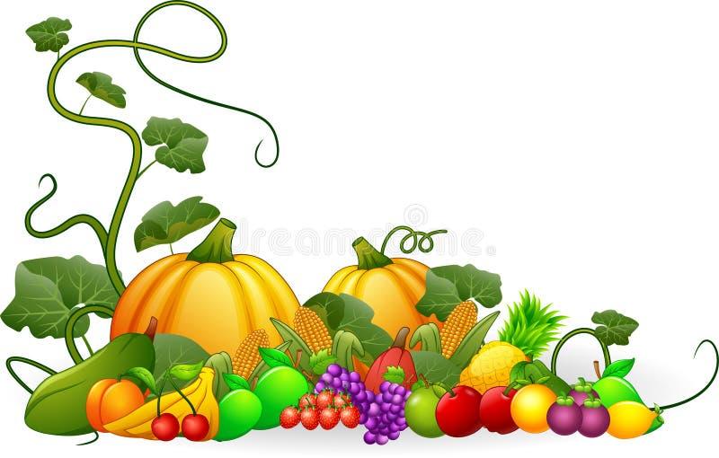 Récolte d'automne des légumes et des fruits illustration de vecteur