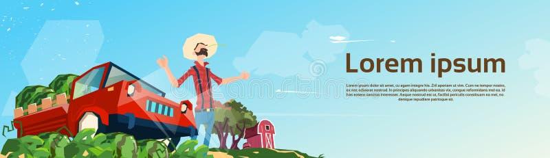 Récolte de pastèque de Picking In Field d'agriculteur illustration de vecteur