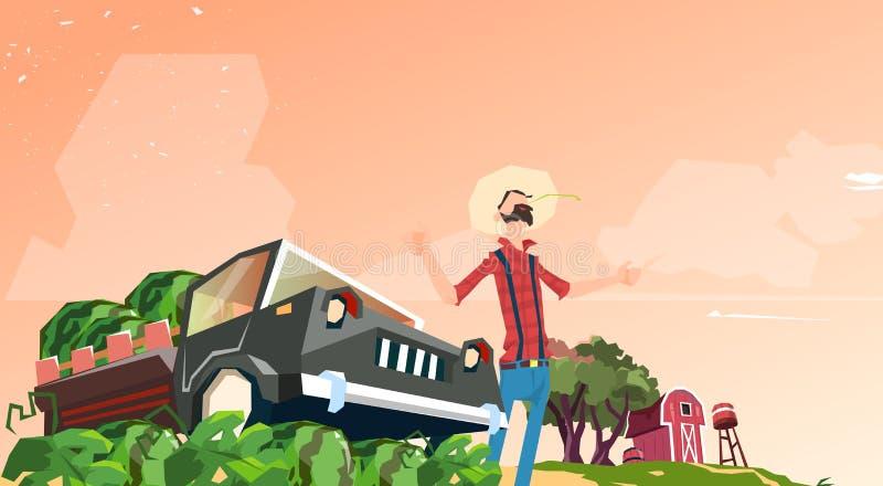 Récolte de pastèque de Picking In Field d'agriculteur illustration libre de droits