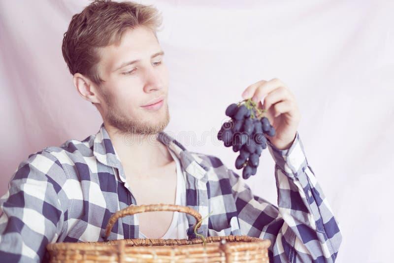 Récolte rassemblée par participation de jeune homme avec le panier d'isolement photo stock