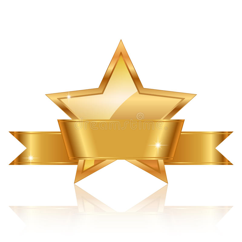 Récompense d'étoile d'or avec le ruban brillant avec le PS illustration libre de droits