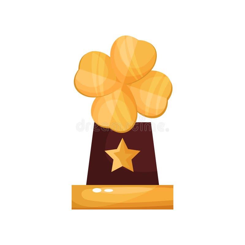 Récompense d'or avec la feuille de trèfle, illustration de bande dessinée de statuette de trophée illustration libre de droits