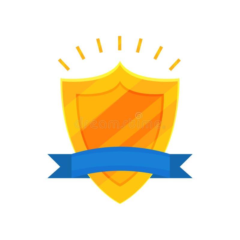Récompense d'or dans la forme du bouclier brillant avec le ruban bleu Élément plat décoratif de vecteur pour le certificat ou le  illustration stock