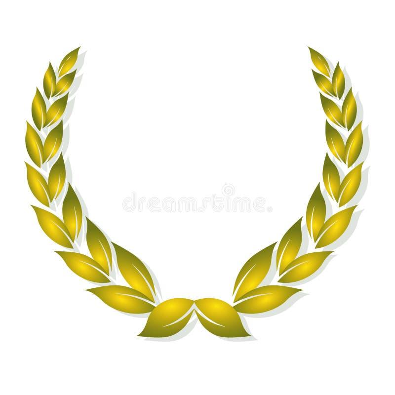 Récompense d'or de laurier illustration de vecteur