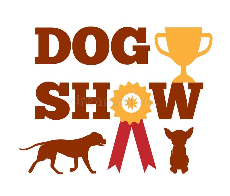 Récompense d'exposition canine avec la conception animale canine de ruban illustration stock