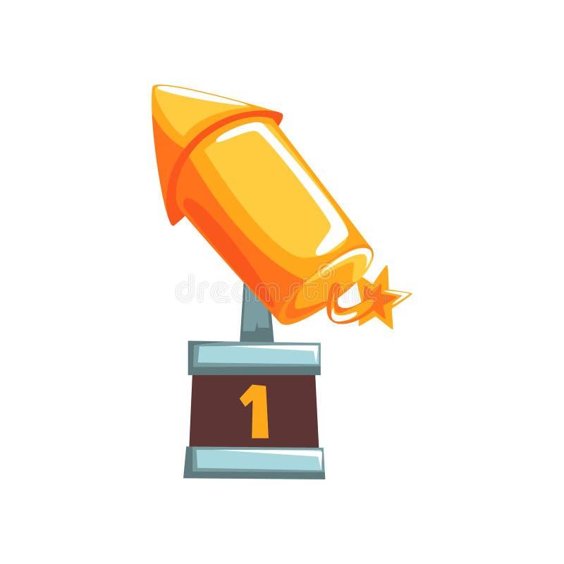 Récompense d'or originale sous la forme de fusée avec la mèche brûlante sur la base brune Prix grand de la concurrence dans l'app illustration stock
